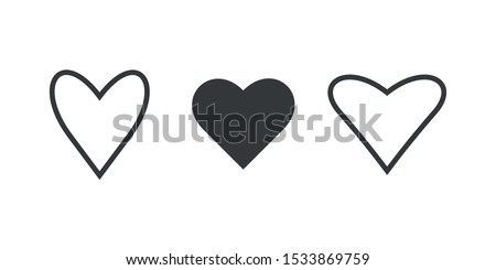 Set of hearts. Symbol of love. Vector illustration.