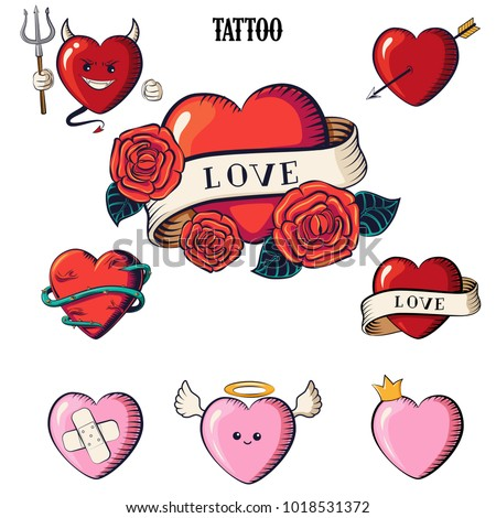 set of hearts tattoo hearts