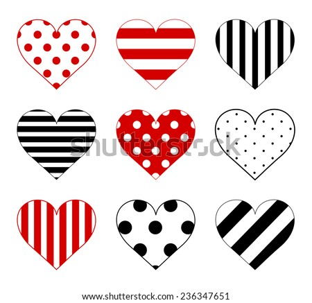 Set of hearts with big and small polka dot pattern, lined texture with large and small lines and diagonal stripes in black and red color. Vector art image illustration, isolated on white background
