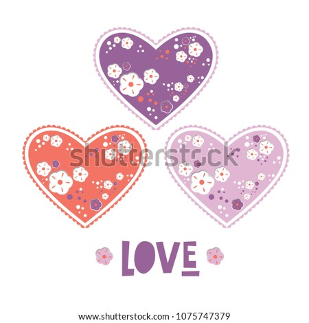 set of hearts with flowers