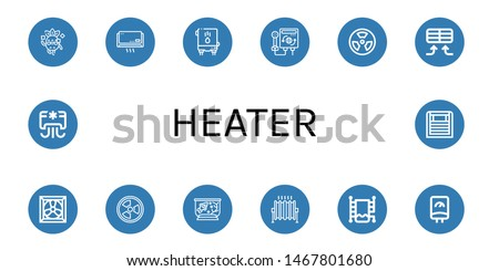 Set of heater icons such as Cool, Air conditioner, Water heater, Heater, Radiation, Cooling system, Fish tank, Heat, Heated towel rail ,