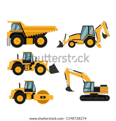 Set of heavy construction and mining machinery