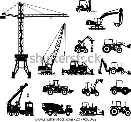 Set of heavy construction machines icons. Vector illustration. Silhouette illustration of heavy equipment and machinery