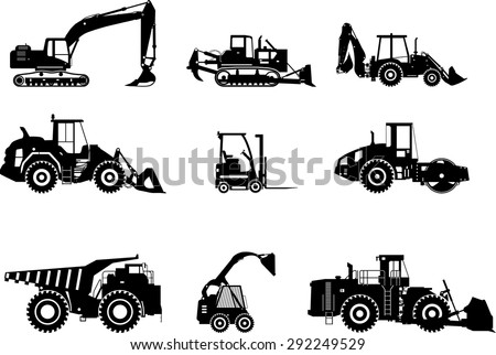 Set of heavy construction machines icons. Vector illustration. Silhouette illustration of heavy equipment and machinery.