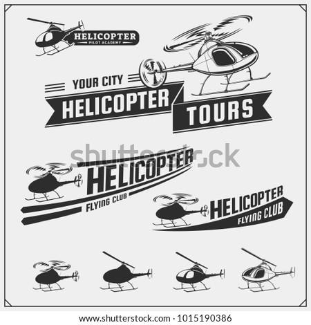 set of helicopter emblems