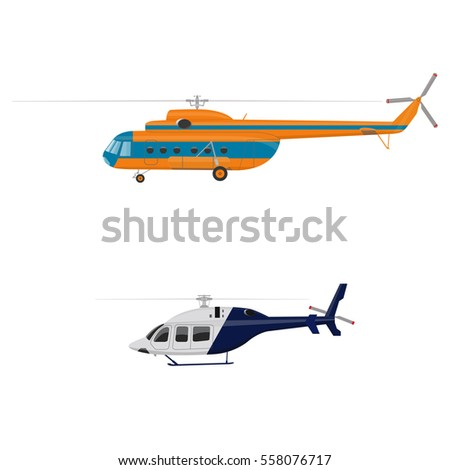 Set of helicopters. Helicopter icon isolated. Vector flat  illustration.