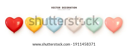 Set of helium balloons. Collection of realistic ballons of heart shapes, different colors, matte and glossy shades. Festive colorful decorative 3d render object. Celebration decor. vector illustration Photo stock ©