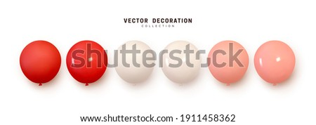 Set of helium balloons. Collection of realistic ballons of round shapes, different colors, matte and glossy shades. Festive colorful decorative 3d render object. Celebration decor. vector illustration