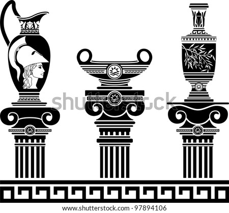 set of hellenic vases and ionic columns. stencils. vector illustration