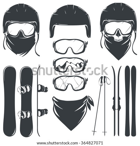set of helmet with goggles and