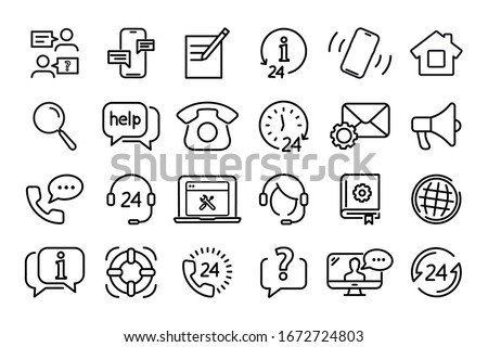 Set of Help and Support lines web icons. Help, Support and Contact. Service support, Customer service, Call center, Phone Assistant, Online Help. Support service
