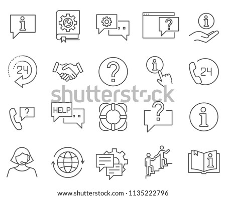 Set of help Related Vector Line Icons. Contains such Icons as operator, support, consultation and more.