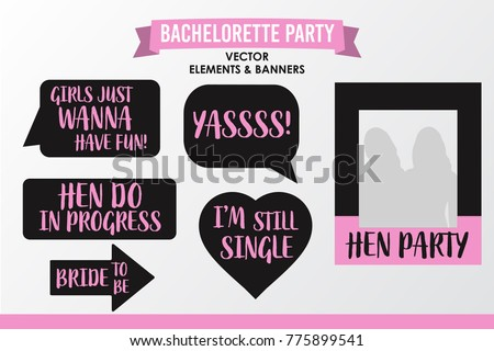 Set Of Hen Party Banners Props Vector Elements Pink Black Color Heart And Signs