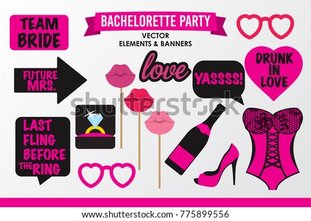 Set of Hen Party banners, props vector elements. Pink black color heart sunglasses and signs love, Team Bride, champagne bottle, shoe, lips on stick, lace corset, Last fling before the ring, Yassss.