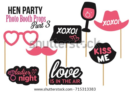 Set of Hen Party photobooth Props vector elements for photo. Pink black color mustaches, champagne glass, hat and signs Kiss me, Love is in the air, xoxo on sticks with glitter. Part 3.