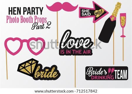 Set of Hen Party photobooth Props vector elements. Pink black color mustaches, champagne, diamond and signs She said Yes, Love is in the air, Bride's Drinking Team on sticks with glitter. Part 2.