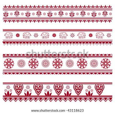 Set of henna painting inspired seamless border patterns