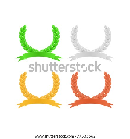 Set of Herald Laurel Wreaths in Green, Gold and Silver Colors