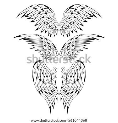 set of heraldic bird angel...
