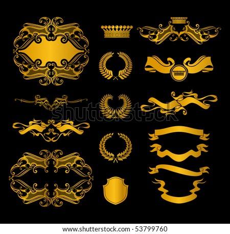Set of heraldic elements, on black