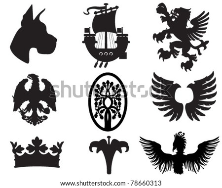 set of heraldic elements useful