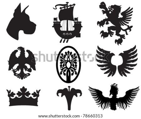 set of heraldic elements useful