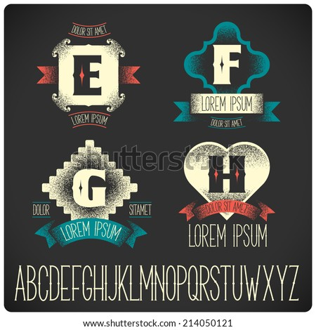 Set of heraldic logo with gothic font EFGH