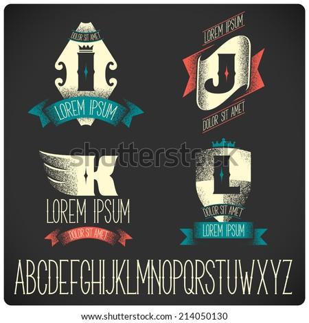 set of heraldic logo with...