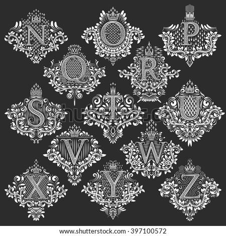 set of heraldic monograms in