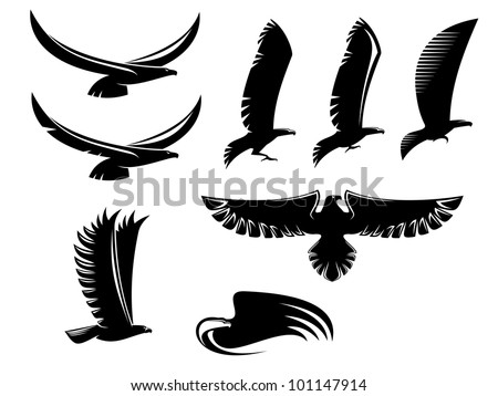 Set of heraldry black birds for tattoo or mascot design. Jpeg version also available in gallery