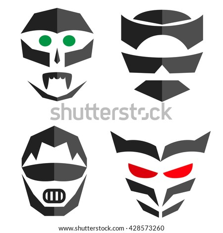 set of hero mask superhero