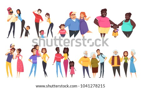 Set of heterosexual families with children of different ethnicity including elderly couples isolated vector illustration