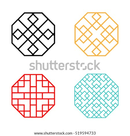 set of hexagon korean pattern