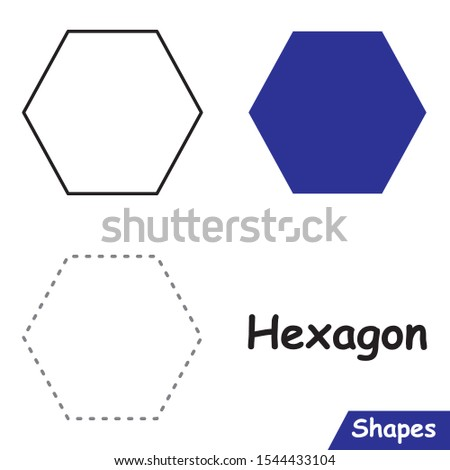 Set of Hexagons ready to use for education such as coloring pages, trace shapes. learn Hexagon shape.