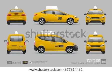 Set of hi-detailed yellow taxi car sedan - vector mockup template. Yellow Taxi cab hatchback, side view, back and front city passenger transport  template for advertising design