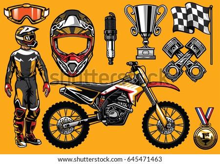 set of high detailed motocross
