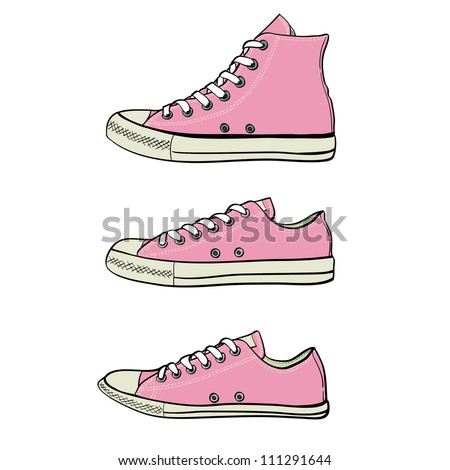 Set of high, low and slim sneakers drawn in a sketch style. Side view of three different kinds of sneakers. Vector illustration.