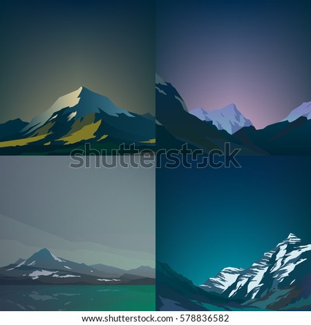 set of high mountains and calm