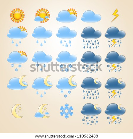 Set of 25 high quality detailed weather icons for day and night