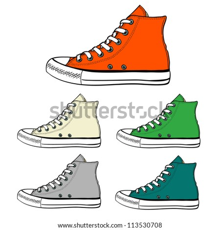 Set of high sneakers drawn in a sketch style. Side view of sneakers in different colors. Vector illustration.