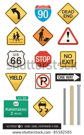 Set of 14 Highway Sign Vectors. Includes three different post designs which work with all signs. Editable colors and shapes. Use as is or drop in your own text. Great for icons or visual metaphors!
