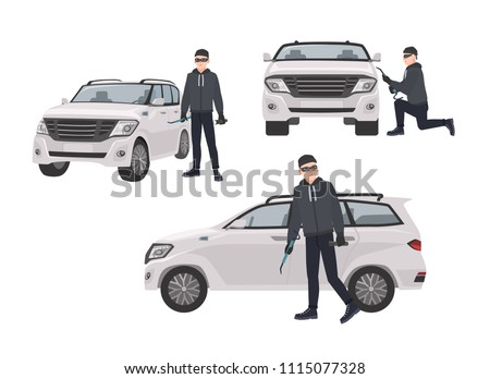 Set of hijacker wearing black clothes and mask standing beside car and trying to break into it. Male cartoon character committing crime isolated on white background. Vector illustration in flat style.