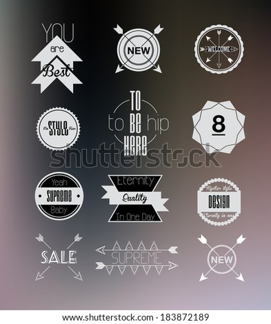 Set of hipster clear flat modern colored retro transparent, blur, labels, stamps, signs, marks and calligraphy, text and stickers