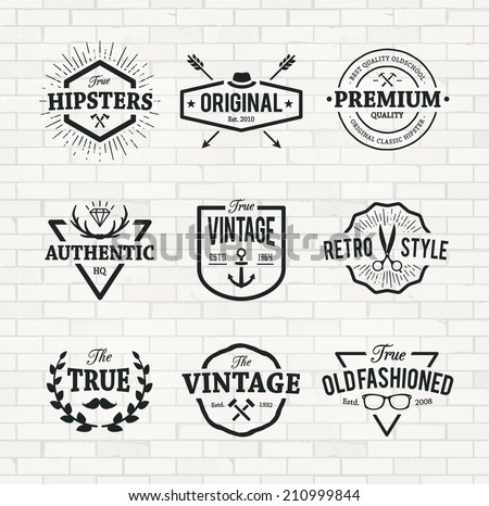 Set of hipster emblems on brick wall background. Cool old fashioned labels for retro styled design.