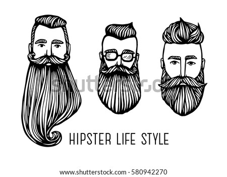 Set of Hipster heads with beards. Hand-Drawn Doodle. Vector Illustration - stock vector. Hand drawn cartoon character. Bearded man