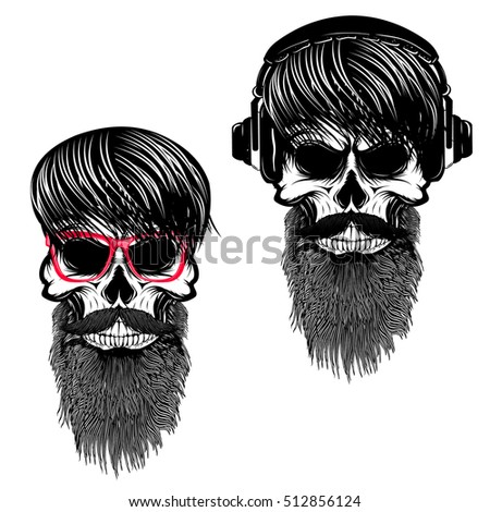 set of  hipster skulls with