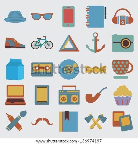 Set of hipster symbol - vector icons