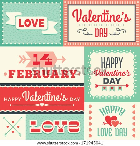 Set Of Hipster Valentine\'S Day Typographic Tags And Labels In Red And Green With Hearts And Arrows. For Greeting Card, Poster, Menu, Party Invitation, Social Media, Web Banners, Gift Wrapping Paper.