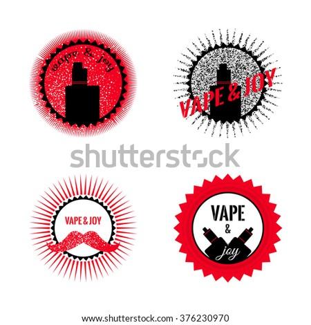 Set of hipster vaping logo design. Stock vector.