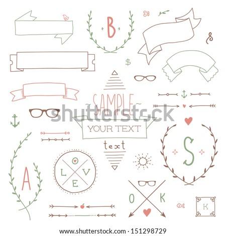 Set of hipster vintage design elements